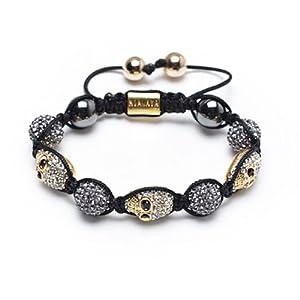 Bling Jewelry Gold Crystal Skull Hematite Gray Swarovski Shamballa Bracelet 12mm by Bling Jewelry