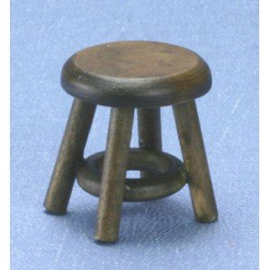 Dollhouse Walnut Stool - 1