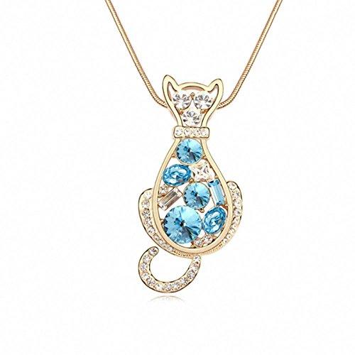 TAOTAOHAS elementi di swarovski cristallo lungo maglione collane [ angelo gattino, acquamarina ], 18KGP Rhinestone