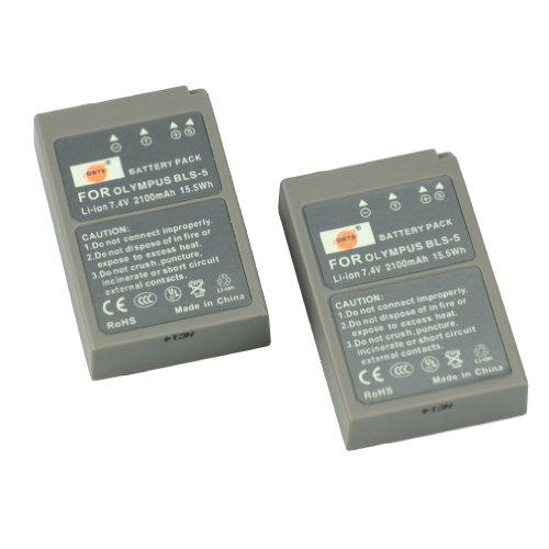 DSTE® 2x BLS-5 Ricaricabile Li-ion Batteria per Olympus OM-D E-M10 PEN E-PL2 E-PL5 E-PL6 E-PM2 Stylus 1 Macchina Fotografica come PS-BLS5