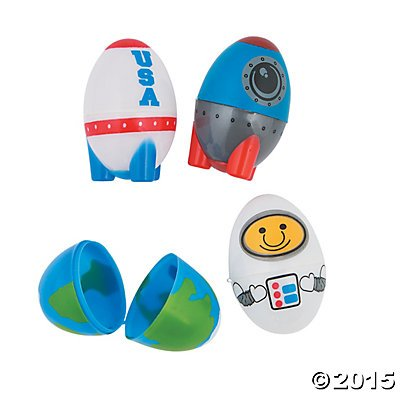 Space Themed Easter Eggs with Rocket, Earth, and Astronaut - 12 pieces