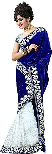 Leeps Prints Women Velvet Sarees With Blouse Piece (Blue)