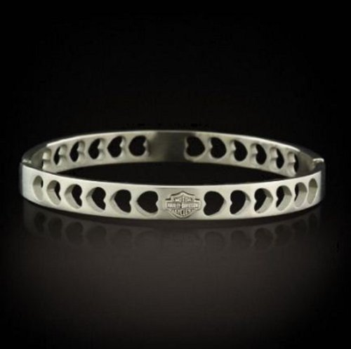 Harley® Stamper® Women's Stainless Steel Heart Bangle Bracelet. Bar & Shield. STB1590