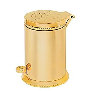 Luxo toilet waste basket polished gold with for Gold bathroom wastebasket
