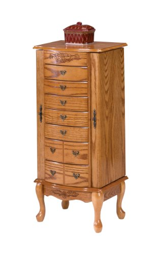 Bernards Jewelry Armoire, Large, Oak Home Small Appliances