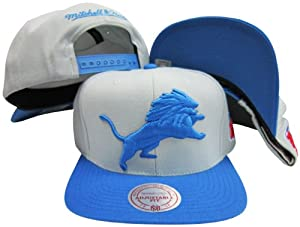 Detroit Lions Grey Blue Two Tone Plastic Snapback Adjustable Plastic Snap Back Hat... by Mitchell & Ness
