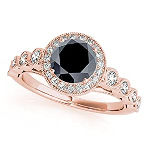 1.35 Ct. Ttw Black Diamond Ring Crafted In 14k Solid Rose Gold