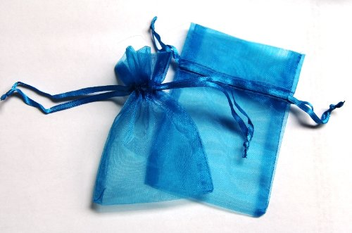 48 Organza Drawstring Pouches Gift Bags 4x5 - Dark Turquoise