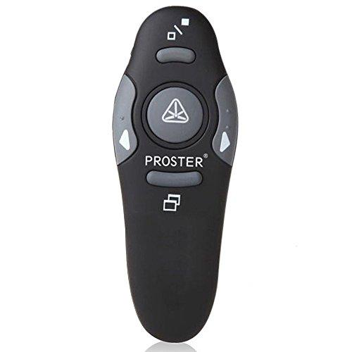 Puntero para Presentaciones, Proster 2,4 GHz Inalámbrico USB PowerPoint PPT Presentador Control Remoto con Puntero Láser Rojo para la Enseñanza, Presentaciones, Discurso, Asambleas Escolares y etc.