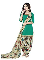 Salwar House Green & Multicolor Unstitched Synthetic Printed Dress Material with Dupatta