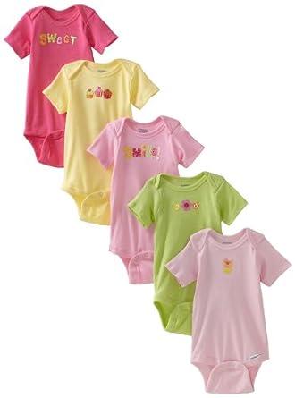 Gerber Baby-Girls Newborn 5 Pack Solid Onesies Brand, Pink/Green, Newborn