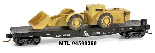 Micro Trains N 04500360: 50' Flat Car, Fishbelly Side w/Front End Loader, Chesapeake & Ohio C&O #216508 (N Scale)