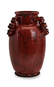 "15.5"" Rustic Italianate Scarlet Garnet Red Ceramic Table Top Tall Urn Vase"
