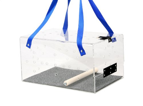 Cheap Crystal Shuttle Bird Carrier, Clear with Blue Carrying Strap, 15-Inches L x 10-Inches W x 8-Inches H (CS-1)