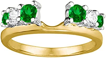 Diamond and Created Emerald Ring Wrap Enhancer set in Sterling Silver 13 ct twt