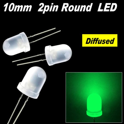 200Pcs X Green 10Mm Round Diffused Led Light 9K Mcd 2Pin 10Mm Diffused Led Green