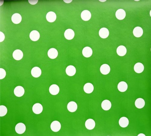 GREEN POLKA DOT SPOTS PVC OILCLOTH VINYL FABRIC KITCHEN CAFE BAR TABLE WIPECLEAN PICTURE TABLECLOTH PER METRE 100CM X 135 CM BRAND NEW CUT TO ORDER