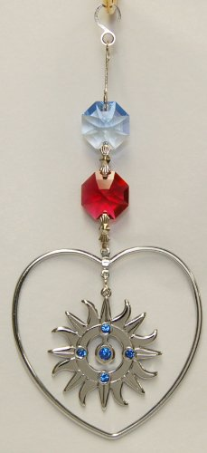 Hanging Sun Catcher Or Ornament..... Sunburst In Heart With Swarovski Austrian Crystals front-272456