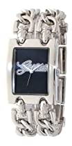 Guess Ladies Silver Double Chain Black Dial Watch W80048L3