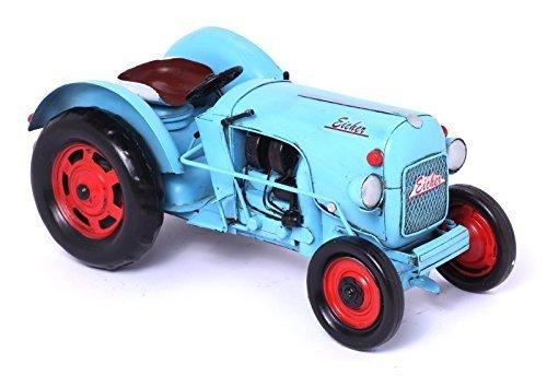 Model Car Tractor Eicher, light blue - Retro Tin Model