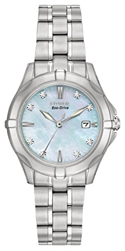Citizen Watch Silhouette Diamond Women's Quartz Watch with Mother of Pearl Dial Analogue Display and Silver Stainless Steel Bracelet EW1930-50D