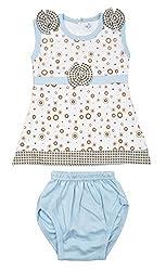 kandyfloss Baby Girls' Cotton Clothing Set (MRHKF-CREAM-BLUE-FROCK-55--3-6 Months, Off-White, 3-6 Months)
