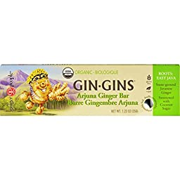 Ginger People Gin Gins Bar - Organic - Arjuna Ginger - 1.23 oz - Case of 16 - Gluten Free - Vegan - Perfect for a quick boost