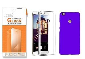 Johra Xiaomi Mi Max HD+Real Tempered Glass Screen Scratch Protector Combo Soft Silicone Mi Max Transparent Cover Combo Dark Blue Hard Rubberised Back Cover For Mi Max Tempered Glass