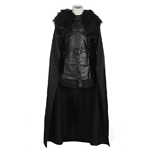 Mens Jon Snow Fur Cloak Cape & Waistcoat Outfit Costume for Halloween