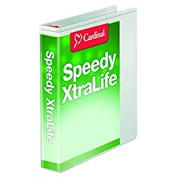 Cardinal Speedy XtraLife Non-Stick Locking Slant-D Ring Binder, 1.5-Inch, White (59110)