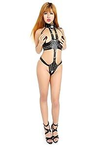 Paloqueth Frauen Sex PU-Leder Bondage Body Harness mit Breast Restraint Spielen Anzug Kostüm