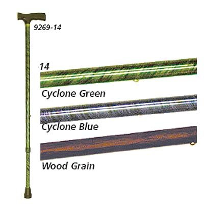 Decorative Aluminum Adjustable Canes - Color: Cyclone Green