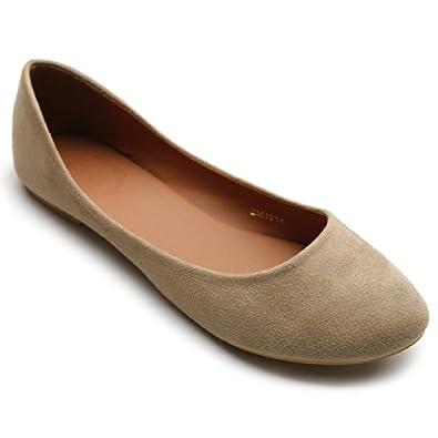 Ollio Womens Shoe Ballet Light Faux Suede Low Heels Flat(5.5 B(M) US, Beige)