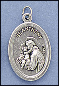 100 Piece Pack, Patron Saints Medals, St. Francis, St. Anthony, Italian Oxidized Silver.