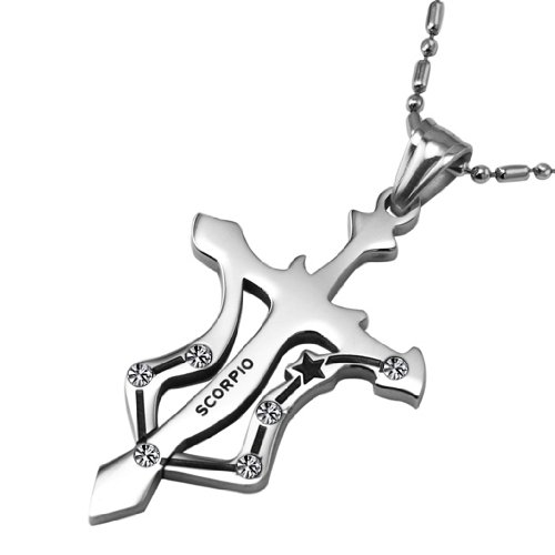 Opk Jewellery Fashion Necklace Scorpio Cross Cubic Zirconia Stainless Steel Neckwear Chains Pendants Silver For Men's And Women's Necklets