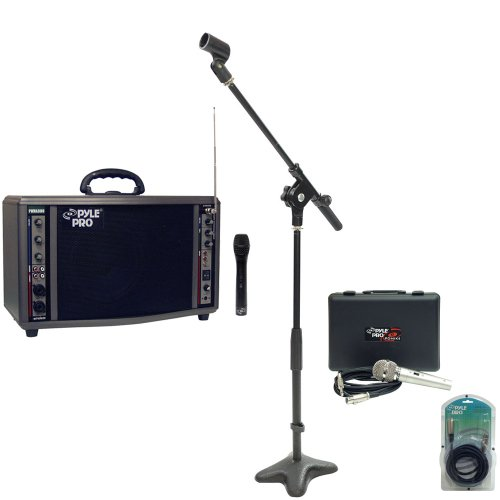 Pyle Speaker, Mic, Cable And Stand Package - Pwma3600 200 Watt Wireless Battery Powered Pa System - Pdmik4 Dynamic Microphone With Carry Case - Pmks7 Compact Base Microphone Stand - Ppfmxlr15 15Ft. Xlr Male To Xlr Female Microphone Cable