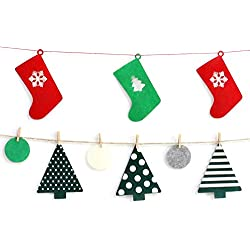 Christmas Decorations, Felt Christmas Tree + Stockings Shaped Banner Garland for Christmas Party Decorations Indoor (Small Size)