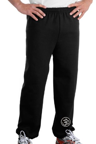 AUM PATCH Mens Yoga OM Pants with Elastic Bottom - Black - Ankle Print, Medium