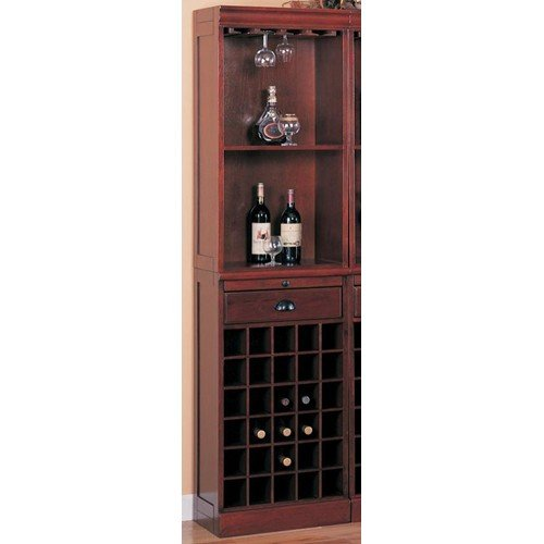 Coaster Lambert Traditional Wine Wall Bar Unit In Cherry front-123091