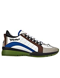 Dsquared2 men's shoes leather trainers sneakers calfskin sport white