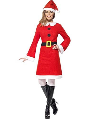 Smiffys Women's Red Economy Miss Santa Costume -US Dress 10-12