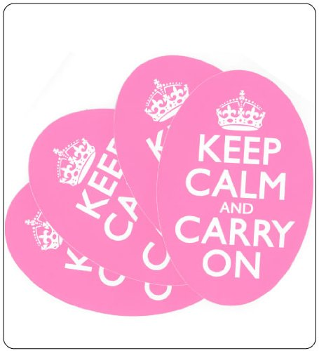 Breast Cancer Awareness or Cancer Support Gift Ideas Pink Keep Calm and Carry On Bumper Stickers. Set of 4.