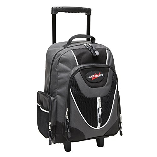17 Inch Gray Wheeled Bookbag / Rolling Student School Backpack
