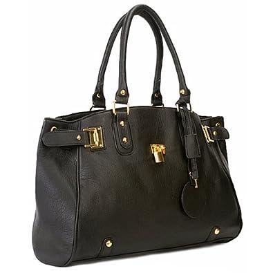 MG Collection LUCCA Black Glamour Padlock Shopper Hobo Handbag w/Shoulder Strap