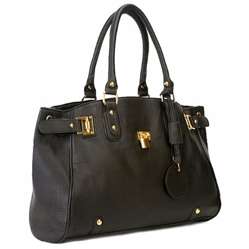 MG Collection LUCCA Designer Inspired Black Glamour Padlock Shopper Hobo Handbag