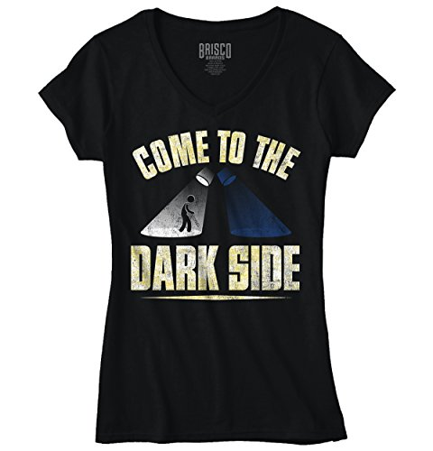 Funny V Neck T Shirt Come To The Dark Side Womens Tee