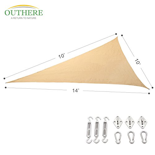 Outhere 10'X10'X14' Sun Shade Sail Right Triangle with Stainless Steel Hardware Kit - Durable Outdoor Canopy UV Shelter for Patio Lawn - Sand Color (Sun Shade Sail 14 compare prices)