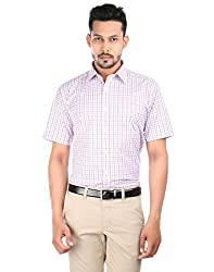 Oxemberg Men's Checkered Formal Cotton Poly Maroon Shirt