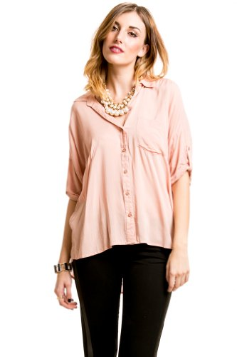 Hi-Low Button Down In Blush