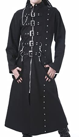 Dead Threads Mens Long Black Trench Gothic Coat (Small)